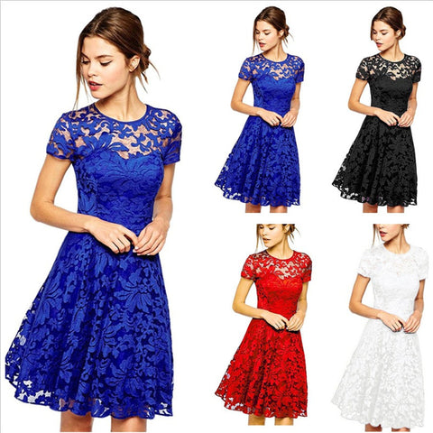 Round Neck Short Sleeve Pleated Lace Mini Party Dress