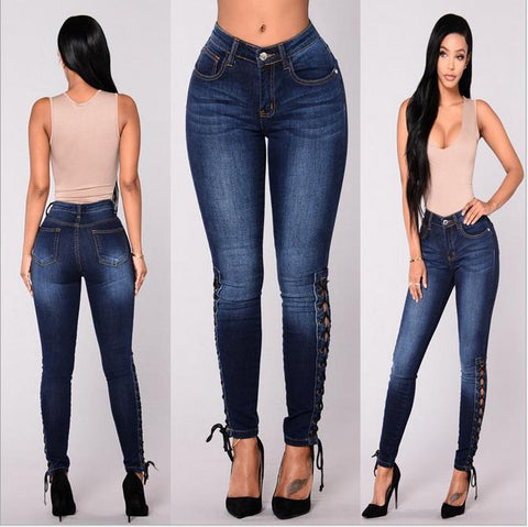 High Waist Jeans Bandages Elastic Slim Body Jeans