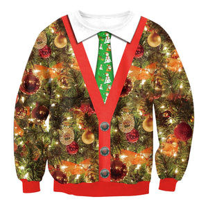 Christmas Fake Tie  Print Loose Round Neck Sweatshirt