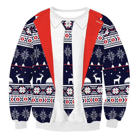 Fake Two Piece Printed Loose Long-sleeved Christmas Top