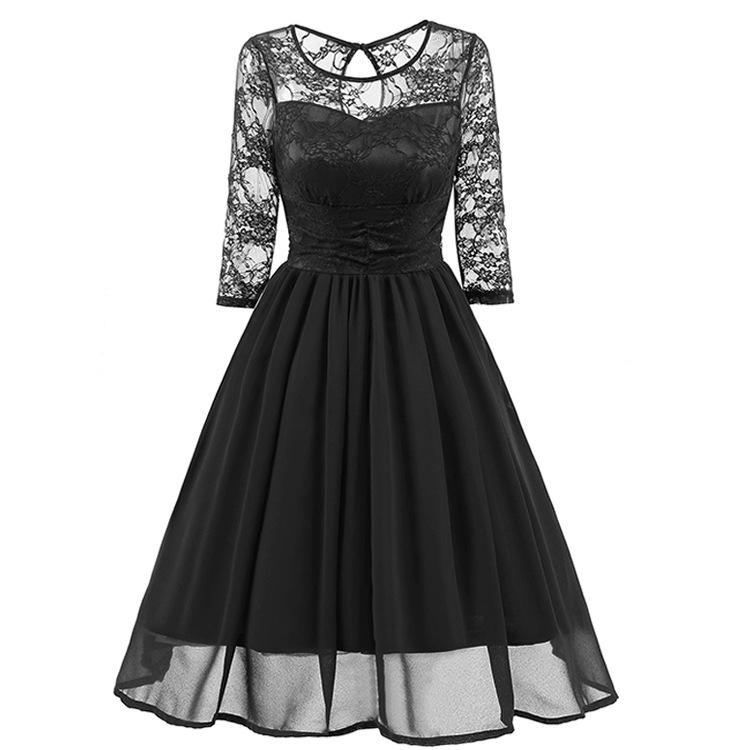 Women Elegant Vintage Chiffon Pleated Lace Sexy Dress