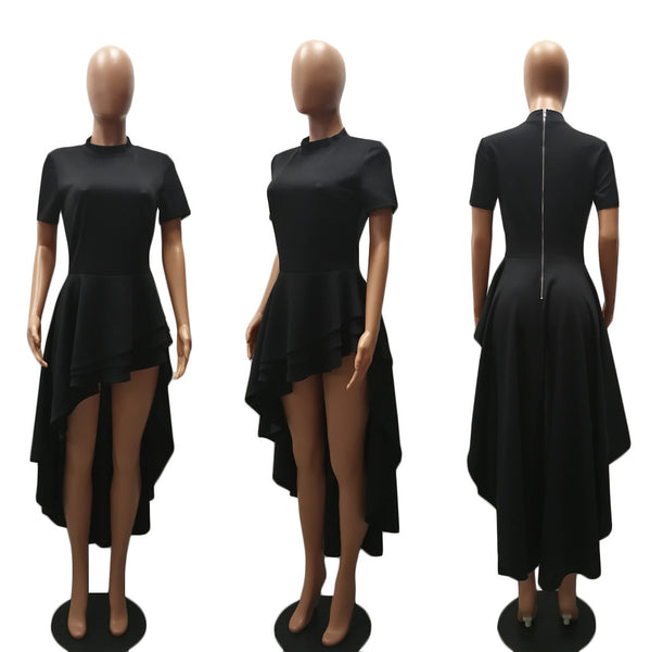 Ladies Bodycon Front Short Back Long Club Bodysuits Dresses