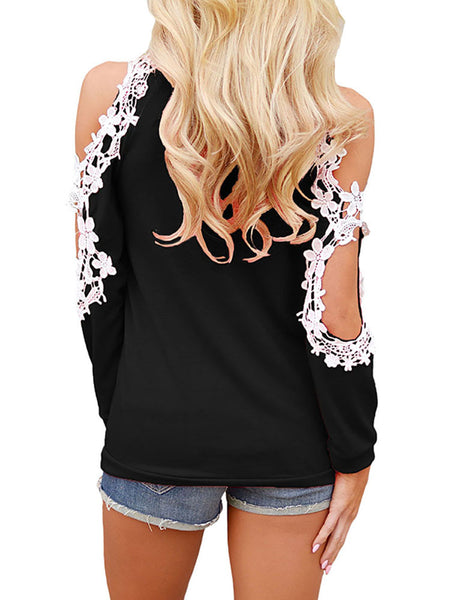 Sexy Long Sleeve Cold Shoulder Lace Casual Tops