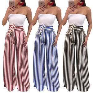 Contrast Stripes Print High Waist Straight Wide Leg Pants