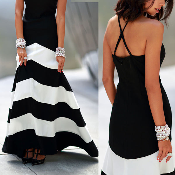 Sexy Ladies Stripes backless Long Maxi Dress