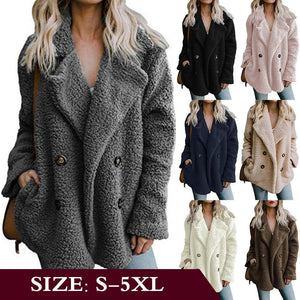 Double-breasted Velvet Velvet Velvet Loose Plush Coat