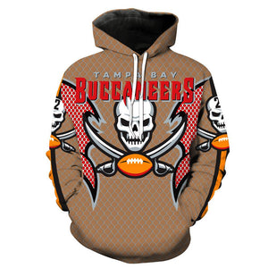 [SUPER BOWL] Tapa Bay Pirates Football Team Print Hooded Sweater