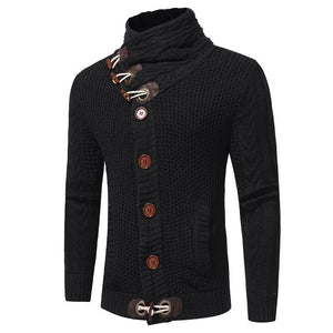 Fashion Horn Buckle Thick Wool Men Stand Collar Long Sleeve Thick Cardigan Sweater