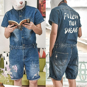 Men Retro Loose Short Sleeve Jacket One Piece Denim Jumpsuits Romper Ripped Jeans Overall Coverall Workwear Shorts