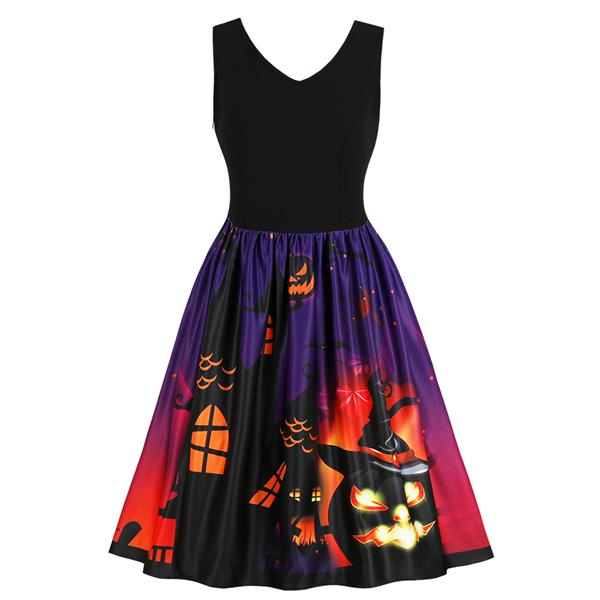 Halloween Skull Pumpkin Print Dress(S-4XL)