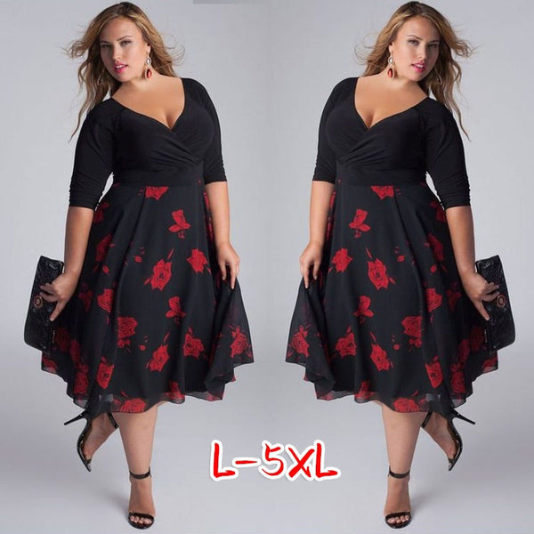 Sexy V-neck Patchwork Floral Dress A-line Plus Size Dress