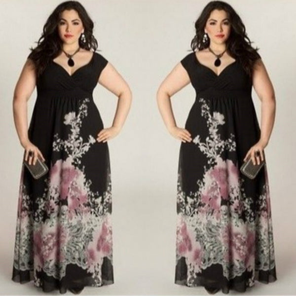 Fashion Sexy Dress V-neck Party Evening Long Maxi Dress Plus Size