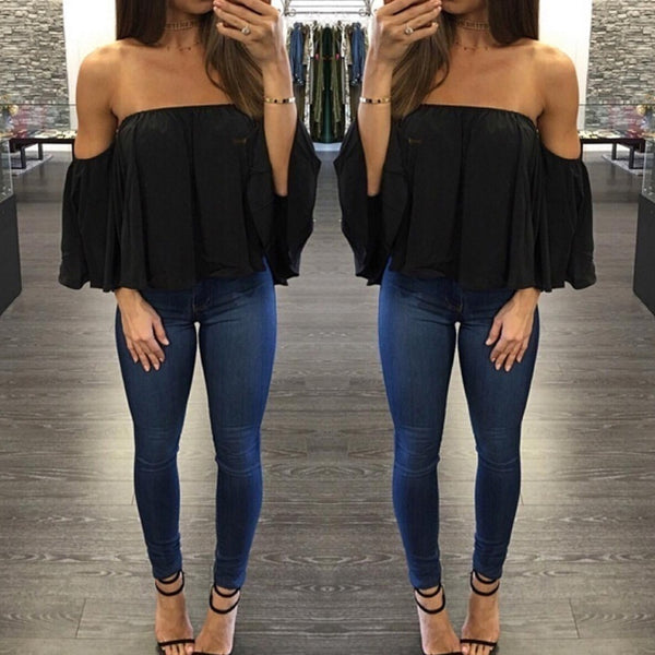 Off Shoulder Chest Wrapped Sexy Chiffon Top