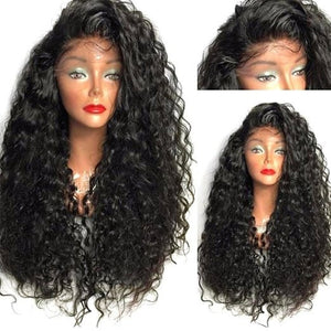 Black Curly Side Parting Lace Front Synthetic Hair