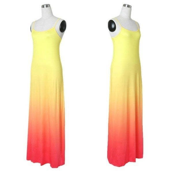 Fashion Sexy Summer Gradient  Maxi Dress