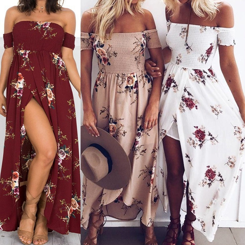 Wrap Chest Off Shoulder Loose Beach Printed Dress