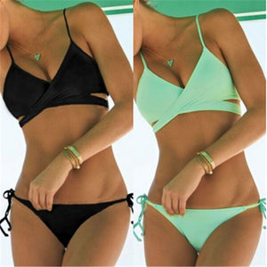Summer Style Lace-up Swim Suit Two-piece Suits