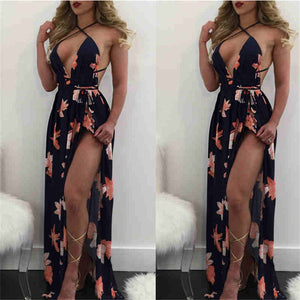 Sexy Flower Printing Deep V-neck Backless Maxi Dress