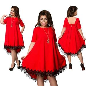 Short Sleeve Lace Backless Dresses Plus Size