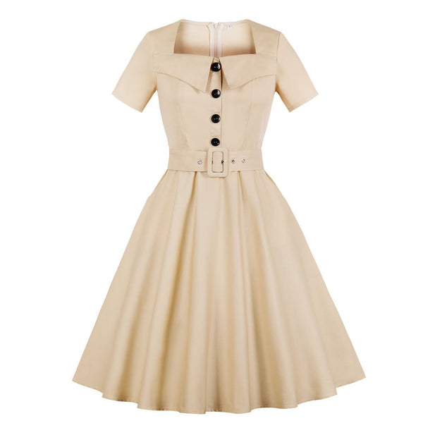 Short-sleeved Solid Color Pocket Vintage Dress