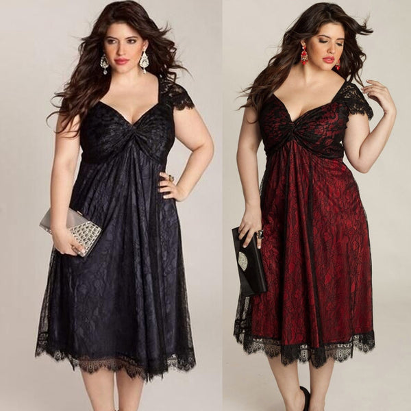 Plus Size Women Sleeveless Lace Long Prom Gown Formal Dress