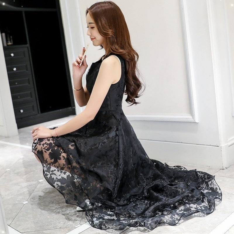 680c0f9df O-neck Lace Double Layer Flower Prom Party Dress – MangoFast