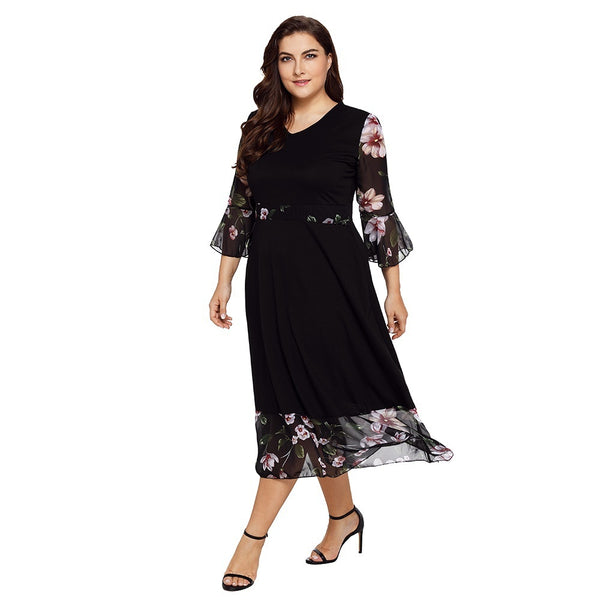 Fashion Floral Print Sleeves Elegant  Chiffon Dresses Plus size