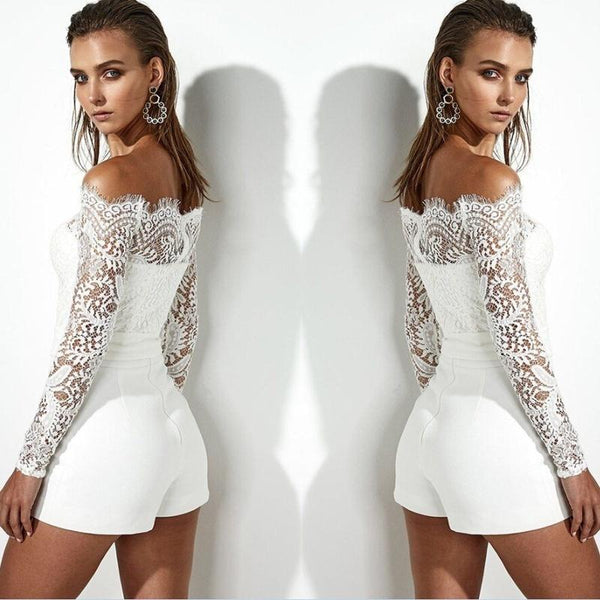 Women Lace Sleeve Playsuit Party Romper Short Trousers Pants Clubwear