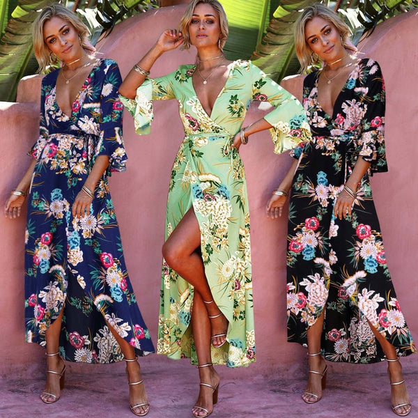 Summer V Neck Boho Flare Sleeve Floral Dress