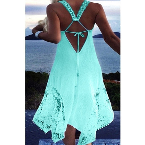 Sexy ladies sleeveless beach lace strap dress