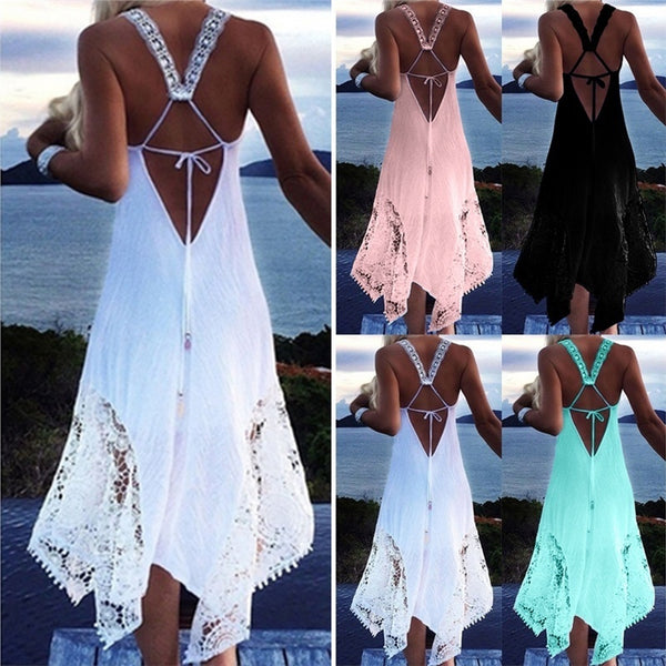 Sexy Ladies Sleeveless Loose Casual Women Beach Lace Strap Boho Dress Beach Cover Up Sundress