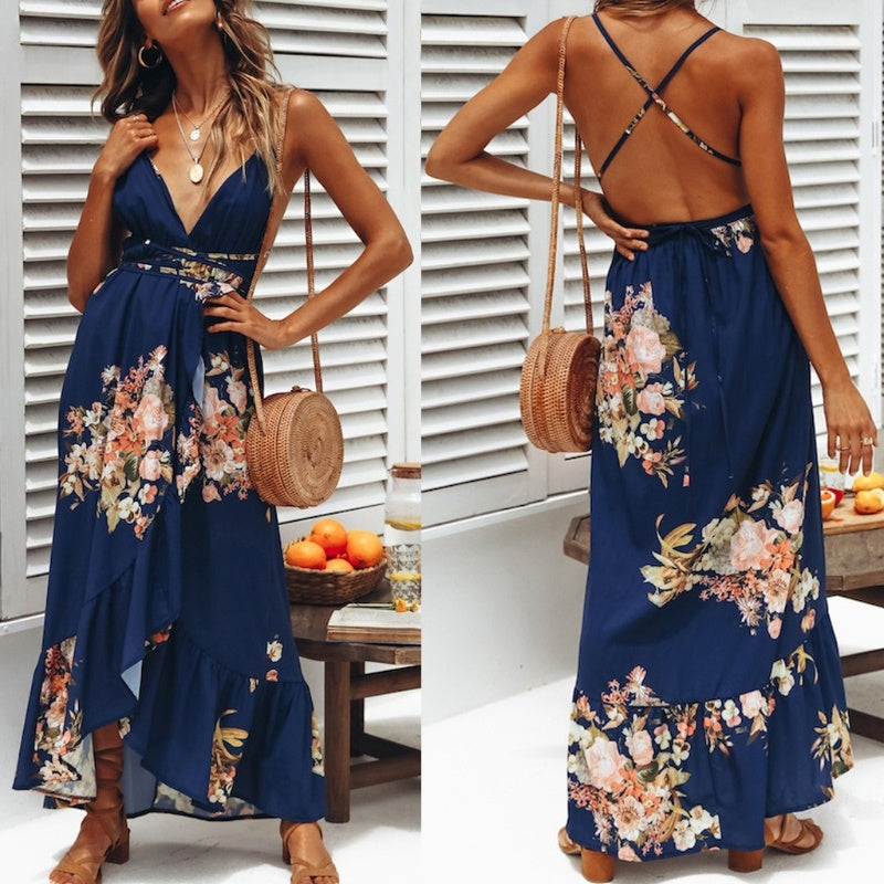 Sexy V Neck Sleeveless Backless Floral Printed Maxi Dress