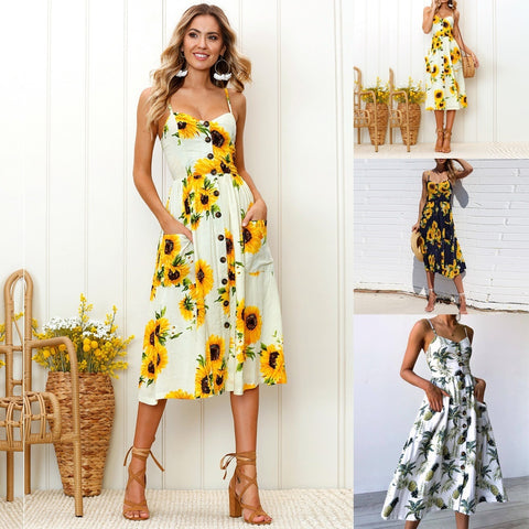Boho Long Maxi Dress Summer Beach Evening Cocktail Party Floral Sundress