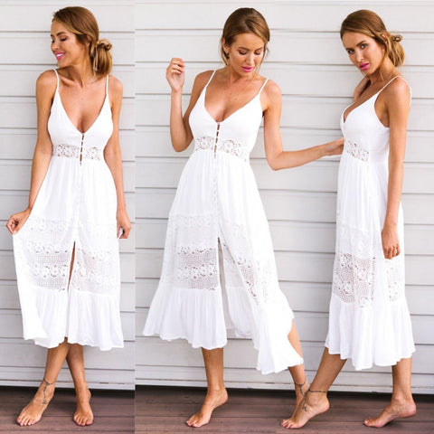 Fashion Sleeveless  Lace Maxi Summer Boho Dress