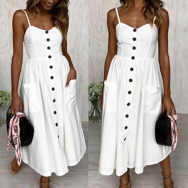 Sexy Women Sleeveless Solid Color Long Casual Dress
