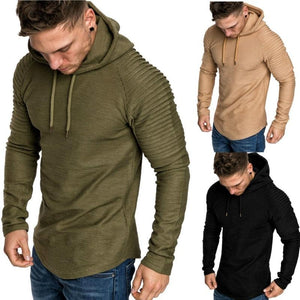 Men's Solid Color Pleated Sleeve Long Fleece Hoodie