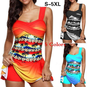 S-5XL Summer Floral Printed Two Pieces Tankini Swimsuitl Beach Wear