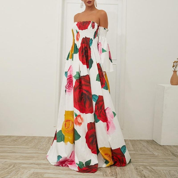 Off Shoulder Swing Basic Balloon Sleeve Paneled Floral Prom Dress