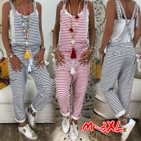 Women Striped Jumpsuit Overalls Sleeveless Summer Casual Baggy Jumpsuit