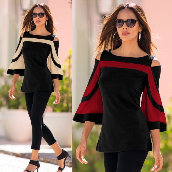 Colorblock Bell Sleeve Cold Shoulder Top