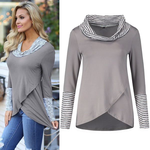 Fashion Striped Turtleneck Color Block Long Sleeve Top