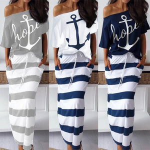 Women's Casual Anchor Print Short Sleeve T-Shirt + Skirt Set