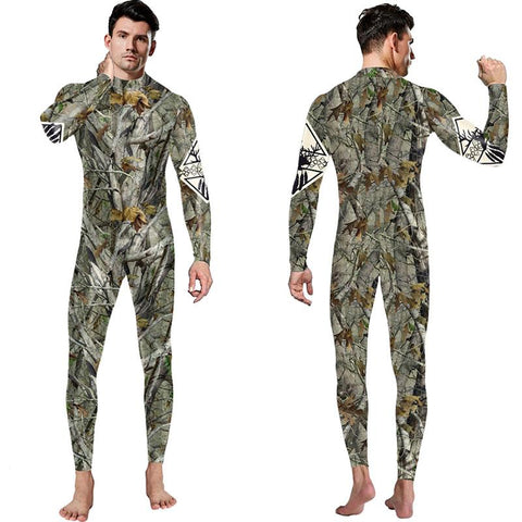3D Funny Tree Branches Leaves Print Bodycon Stretch Men Suit Pants Jumpsuits Pajamas Onesie