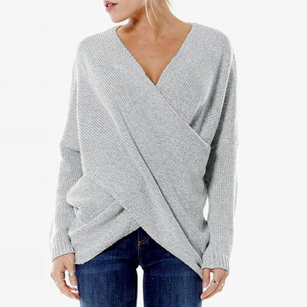 Fashion Cross Front Irregular Hem Sweaters