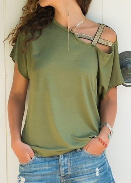 Women's Paw Print Cross Strap Off the Shoulder T-shirt