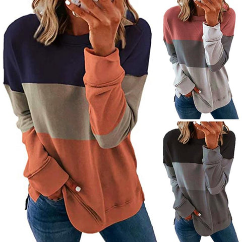 Women Casual Color Block Pullover Long Sleeve T-Shirt Sweatshirt Blouse Tops