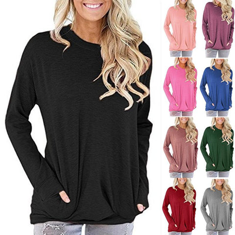 Women Solid Color Long Sleeve Round Neck Pocket Loose Shirt Tops