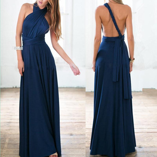 Multi-Way Multi-Rope Cross Backless Sexy Bandage Maxi Dress Party Dress Worn in Multiple Ways