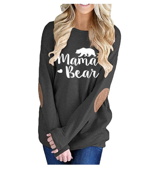 Long Sleeve Mama Bear Letter Print  Loose Sweatshirts