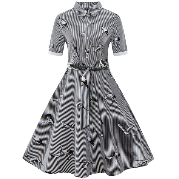 Bird and Stripe Print Vintage Swing Dress